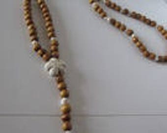 natural pine and pearls beaded mala necklace