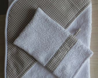bath tissue and white Brown gingham with a washcloth