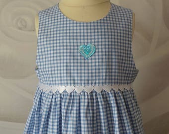 dress 2 years blue gingham cotton