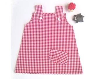 Baby 6 trapeze dress / 9 months red white gingham cotton