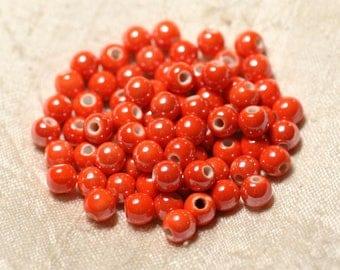 100pc - beads ceramic porcelain balls 6 mm Orange iridescent