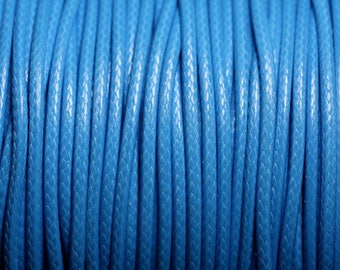Reel 90 m - wire cord cotton wax coated 2mm blue azure