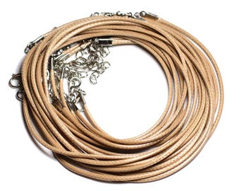 100pc - 2mm Beige waxed cotton lanyard necklaces