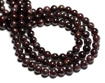 Wire 39cm env - stone beads - Garnet balls 7 mm 50pc