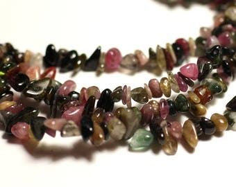 Wire 89cm approx - stone beads - Tourmaline 395pc multicolored rock Chips 3-8mm