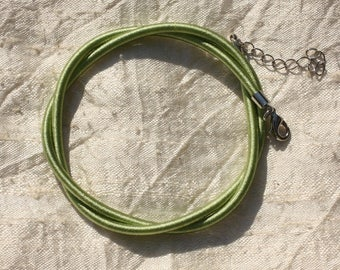 1pc - silk 3 mm Green 46 cm 4558550006370 Choker necklace
