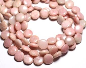 4pc - stone beads - Opal pink 14mm - 4558550084606 pucks