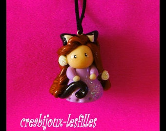 polymer clay necklace birthday gift cat doll