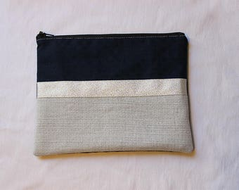 Navy Blue and silver clutch