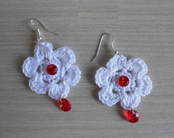 red cotton earrings