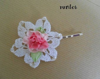 cotton crochet flower hair clip *.