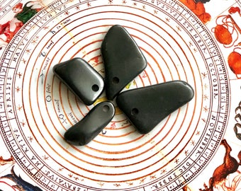 4 shungite stones with holes for making pendants, necklace,emf protecting jewelry,reiki stone,root chakra healing,magic crystal,pagan stones