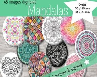 Mandalas - Images digitales Ovales 30/40mm, 18/25mm et 13/18 mm - Pour cabochon, badge, bijoux