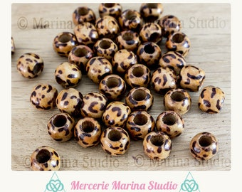 5 wooden beads beautiful leopard printed 10x8mm