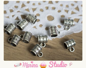 Tibetan silver engraved detailed 8x6mm 50 bails