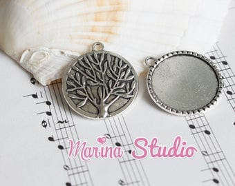 Pendant backing with double-sided tree of life cabochon 3, 2 x 2, 9cm MS27697