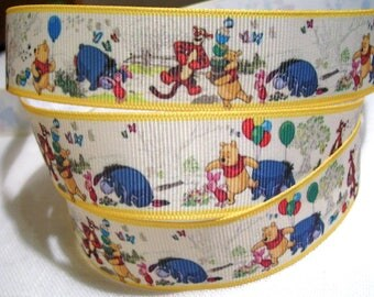 Printed grosgrain Ribbon * 25 mm * WINNIE Pooh and his friends yellow gold - sold by the yard