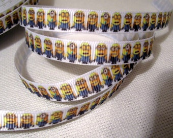 White MINIONS characters * 10 mm * Ribbon printed grosgrain Ribbon - sold by the yard