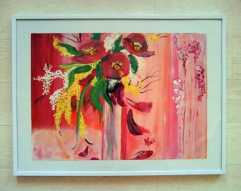 Painted very trendy 40 x 30 red and yellow flower