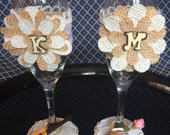 Two Wedding/Quinceañera champagne flutes