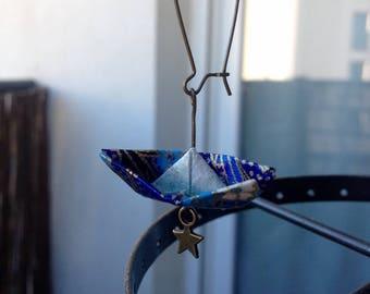 Boucles d'oreilles avec Bateau en origami