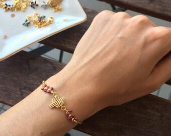 Bracelet gold cactus and plum herringbone chain