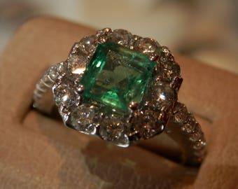 Handmade OOAK Emerald Diamond Ring (FREE Custom sizing available!)