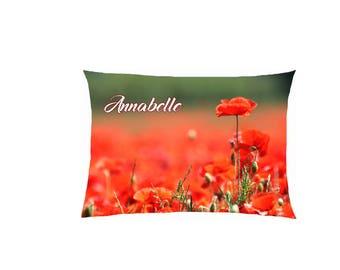 satin poppy cushion customizable ref 612