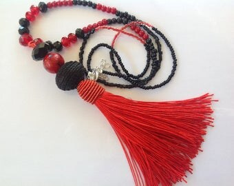 Long red tassel, Moroccan black fabric, red and black bead for the neck
