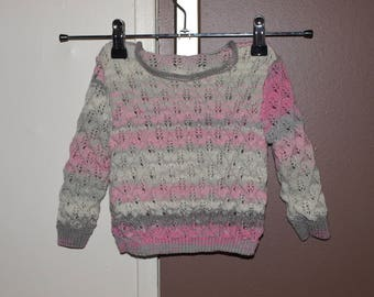 SWEATER girl 18 months to 2 years grey and pink fairy finger @atelier