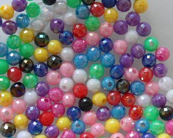 set of 15 round beads multicolor