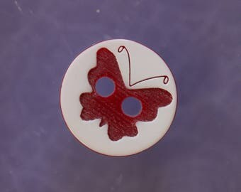 White Butterfly button Red
