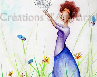 Watercolor original pattern for the peace dove