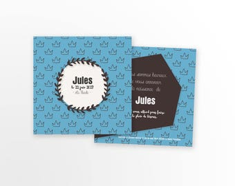 Boy or girl birth announcement - to personalize - model Jules
