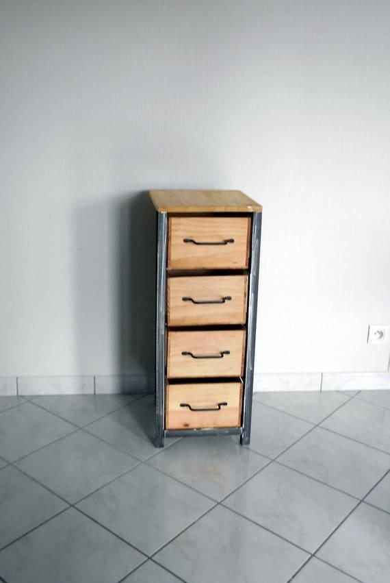 petit meuble de rangement chiffonnier industriel en acier et