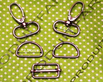 Set of 2 required straps chrome ring carabiner passing tote for 30 MM