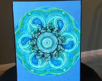 Blue and Green Colored Mandala