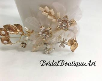 Freshwater pearl gold clip,Gold wedding hair clip,Luxury wedding hair clip,Gold wedding hair clip,Bridal hair clip,Wedding hair accessories