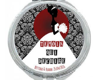 """Pocket mirror """"witness (or maid of honor) badass"""" personalized"""