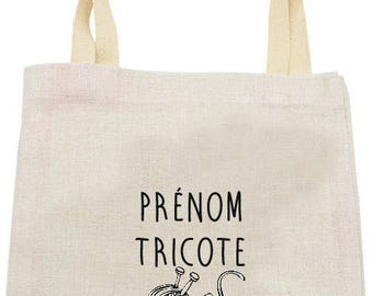 "Personalized TOTE BAG in linen ""knitting"""