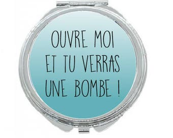 """""""OPEN AND YOU'LL SEE A BOMB"""" POCKET MIRROR"""