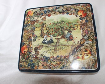 Vintage French Biscuit Tin depicting Breton Children Picking Apples in the Orchard
