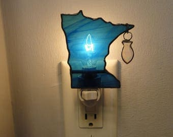 Stained Glass Minnesota State with Fish Night Light