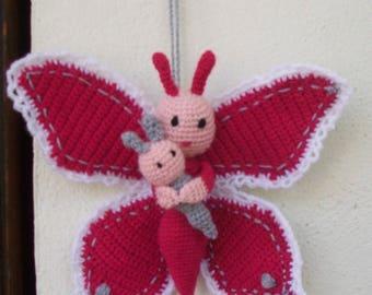 Butterfly in pink, grey and white wool