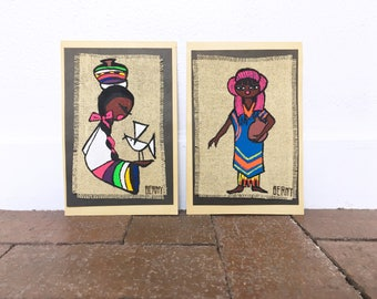 Vintage Mexican Folk Art Painting- Set of 2 - Colorful Art from Mexico