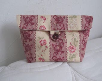 """""""Roses and foliage"""" printed cotton pouch"""