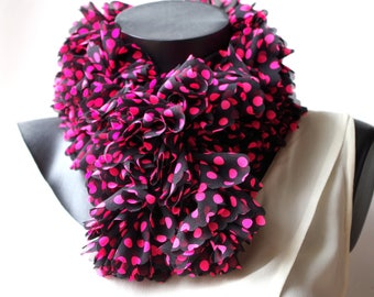 Pretty pink polka dots on black chiffon ruffle crocheted scarf.