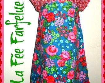 Dress SASKIA velvet flowers from 4 to 10 years