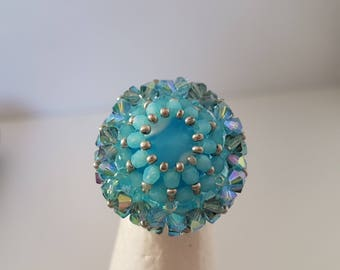 Bohemian 2 beads and Swarovski Crystal ring