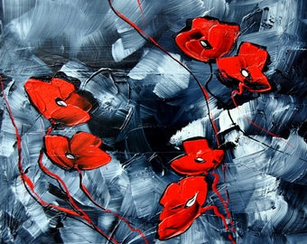 Poppies. Acrylic. The size of the canvas 50 cm x 50cm.